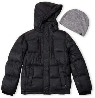 Hawke & Co Boys 8-20) Black Camouflage Hooded Coat