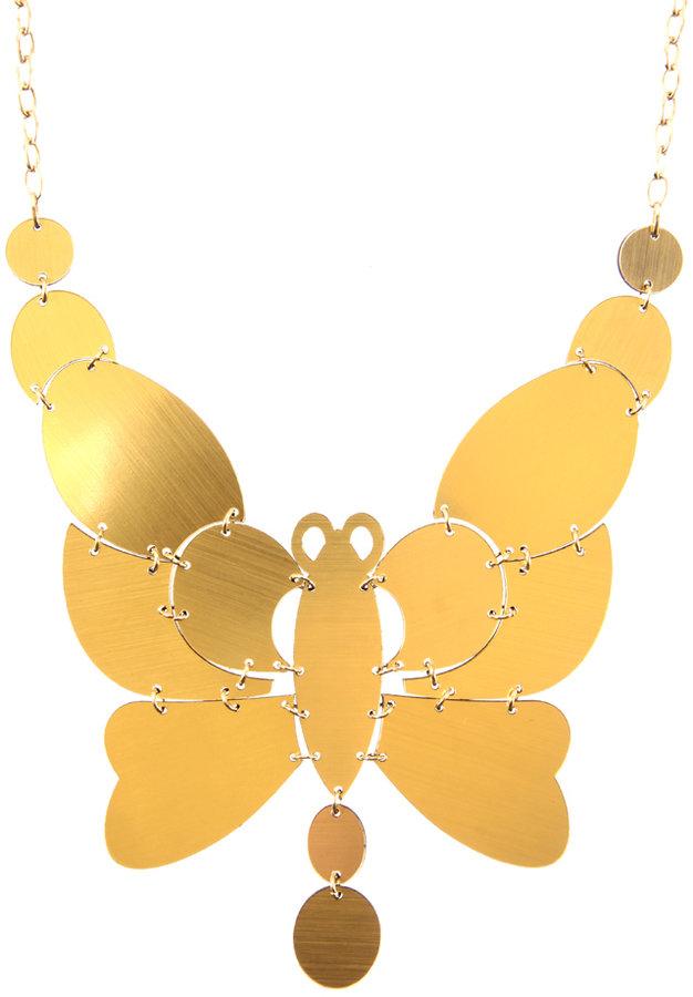 ASOS Reversible Foil Butterfly Statement Short Necklace