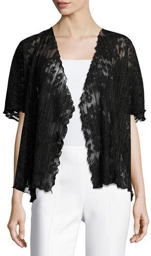 Caroline RoseCaroline Rose Short-Sleeve Pleated Lace Crop Cardigan, Black, Plus Size