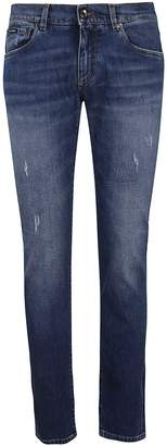 Dolce & Gabbana Embroidered Logo Slim Jeans