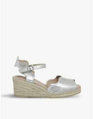 Office Round espadrille leather wedges