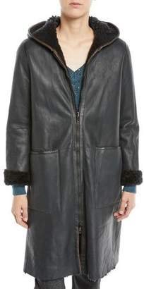 Brunello Cucinelli Curly Hair Shearling Reversible to Leather Zip-Front Jacket w/ Hood
