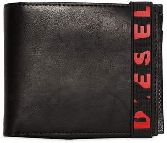 Diesel Leather Wallet W/ Broken Logo Elastic