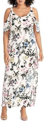 Rachel Roy Plus Gaia Floral-Print Cold-Shoulder Maxi Dress
