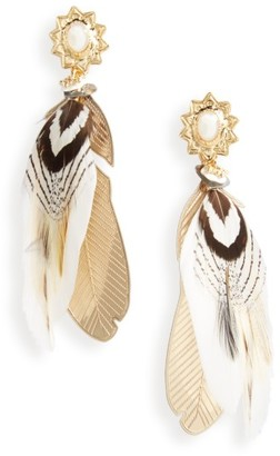 Women's Gas Bijoux Small Sao Feather Earrings $112 thestylecure.com