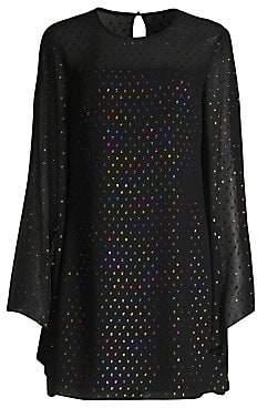 Trina Turk Women's Winterluxe Tess 2 Metallic Multicolor Polka Dot Shift Dress