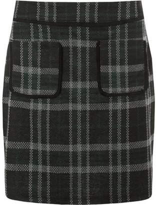 Dorothy Perkins Womens Green Check Mini Skirt