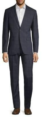 Calvin Klein Plaid Slim-Fit Wool Suit