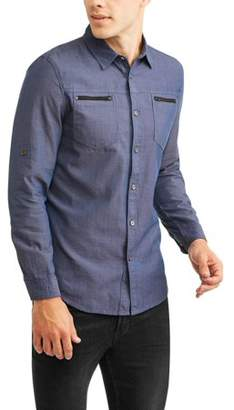 Straight Faded Men's Long Sleeve Textured Woven Shirt With Zipper Pockets