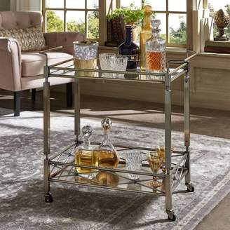 clear Weston Home Chelsea Lane Antique Brass Tempered Glass Metal Kitchen Cart