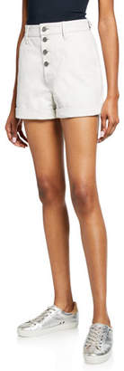RtA Dash High-Rise Leather Button-Front Shorts