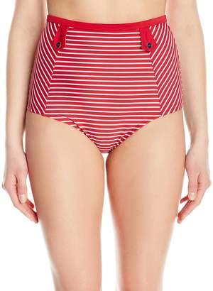 Panache Women's Britt Stripe High Waisted Retro Full Coverage Swimsuit Bikini Bottom