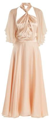 Lanvin Twisted Halterneck Silk Midi Dress - Womens - Light Pink
