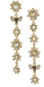 Betsey Johnson Bee Mine Flower Bumble Bee Goldtone Crystal Mismatched Linear Drop Earrings