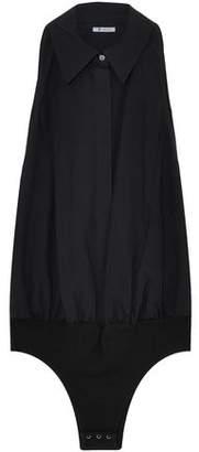 Alexander Wang Gathered Cotton-Poplin And Stretch-Modal Jersey Bodysuit