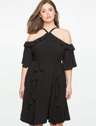 ELOQUII Tie Waist Cold Shoulder Dress