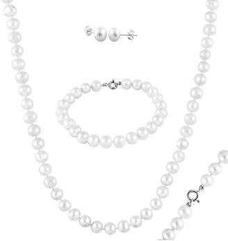 Splendid Pearls Rhodium Plated Silver 6-7Mm Freshwater Pearl Necklace, Drop Earrings & Bracelet Set