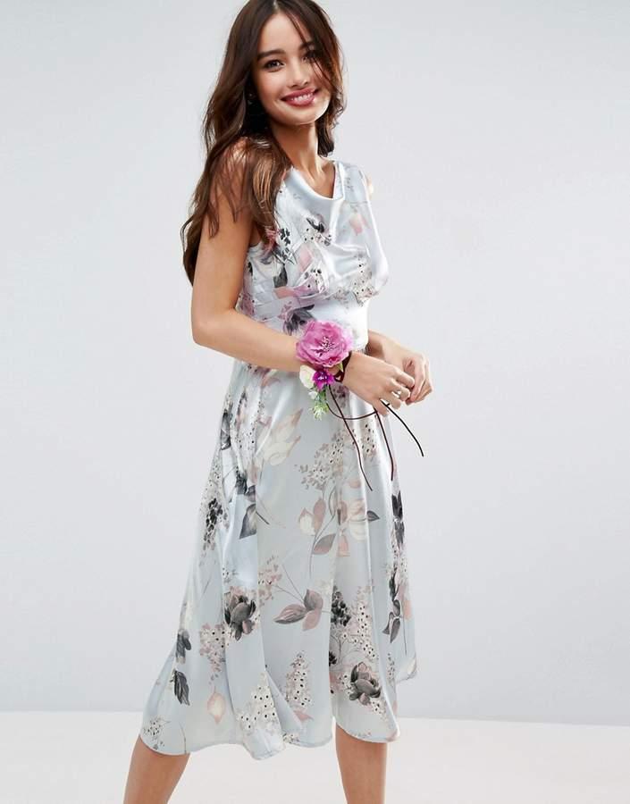AsosASOS WEDDING 40s Seamed Satin Midi Dress in Silver Rose Print