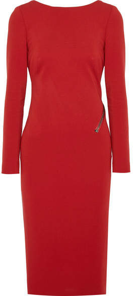 TOM FORD - Open-back Zip-detailed Stretch-jersey Dress - Red