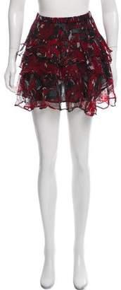 IRO Printed Ruffle-Accented Skirt