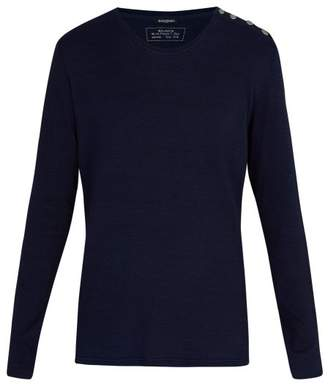 Balmain - Button Shoulder Long Sleeved Cotton T Shirt - Mens - Blue