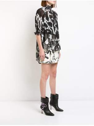 ADAM by Adam Lippes Printed Pebble Chiffon Mockneck Blouse With Smocked Sleeve