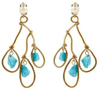 Marni Faux Pearl And Bead Drop Clip On Earrings - Womens - Blue