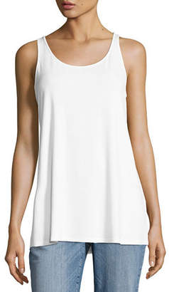 Eileen Fisher Sleeveless Scoop-Neck Lightweight Jersey Tank, Plus Size