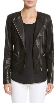 Lafayette 148 New York Caridee Glazed Lambskin Leather Jacket