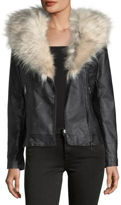 Love Token Faux-Leather Jacket w/ Faux-Fur Trim $109 thestylecure.com