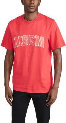MSGM Collegiate Logo Short Sleeve Tee Shirt