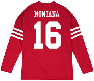 Mitchell & Ness Men Joe Montana San Francisco 49ers Retro Player Name & Numer Longsleeve T-Shirt