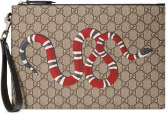 Gucci Bee print GG Supreme pouch