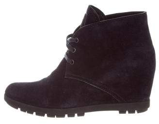 Prada Sport Suede Lace-Up Boots