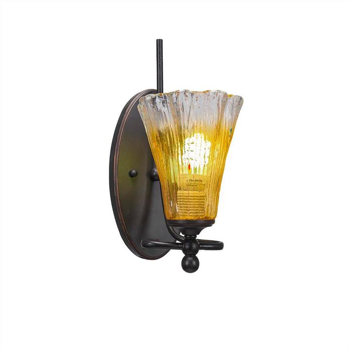 Cambridge Silversmiths Cambridge 1-Light Dark Granite Sconce with Gold Champagne Ribbed Glass