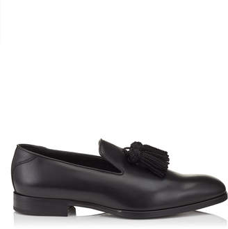 Jimmy Choo FOXLEY Black Leather Tasselled Slippers