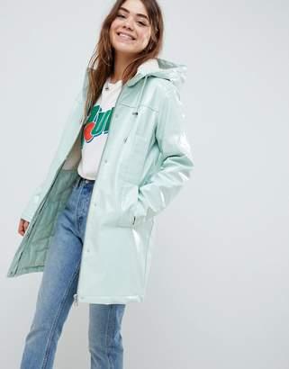Asos DESIGN Borg High Shine Rain Jacket