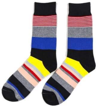 Fashionable Generic Men's Casual Wear Strips Pattern Crew Cotton Sock- Style 1