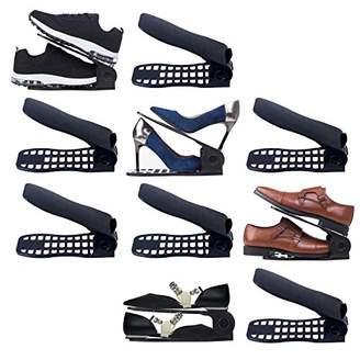 Shoe Slots Organizer 10 Piece Set (Black) - 2018 Premium Closet Space Saver for High Low Heels