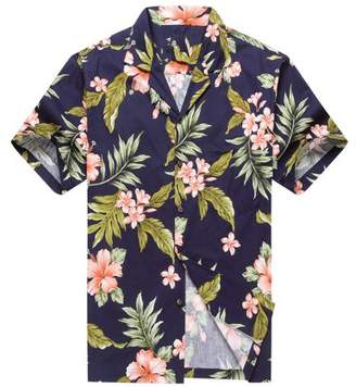 Hawaii Hangover Made in Hawaii Men's Hawaiian Shirt Aloha Shirt Cluster Floral Leaf in Navy and Pink