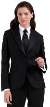 One-Button Twill Tuxedo Jacket
