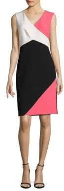 Ellen Tracy Sleeveless Colorblocked Sheath Dress