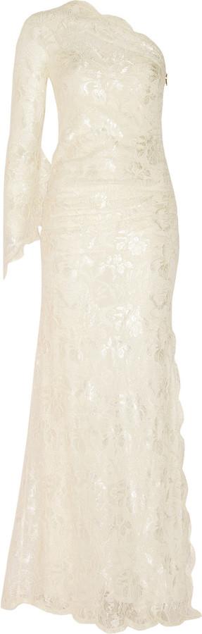 Emilio Pucci One-shoulder lace gown