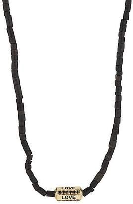 Luis Morais Men's Yellow Gold Love Necklace - Black