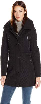 Calvin Klein Women's Quilt Jacket with Faux Fur