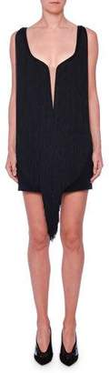 Stella McCartney Plunging Illusion-Neckline Fringe Overlay Mini Dress