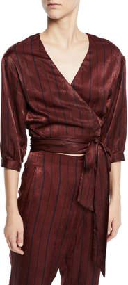 J.o.a. Luxe Striped Wrap Top