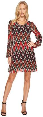 Taylor Chevron Shift w/ Buttons Women's Dress