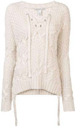 Autumn Cashmere lace-up detail knitted sweater