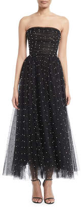 Monique Lhuillier Strapless Pearl-Embellished Tulle Tea-Length Cocktail Dress